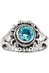 Xtremegems Blue Cz 925 Sterling Silver Ring Jewelry Size 7 319R