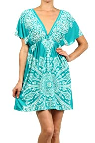 Kiwi Co. Women's Paisley Print V-Neck Kimono Dress