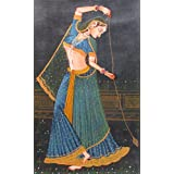 """Dolls Of India """"Rajput Princess Playing With A Top"""" Miniature Painting On Canvas - Unframed (76.20 X 50.16 Centimeters..."""