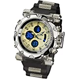 INFANTRY Mens Digital Analogue Quartz Wrist Watch Pilot Aviator Chronograph Gold Tone Sport Black Rubber