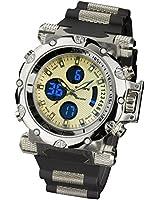 INFANTRY Mens Digital Analogue Quartz Wrist Watch Pilot Aviator Chronograph Gold Tone Sport Black Rubber