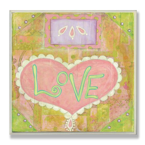 The Kids Room by Stupell Love Pink and Green Heart Square Wall Plaque