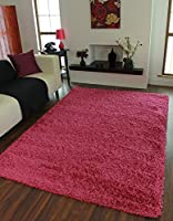 Ontario Quality Colour Fast Cheap Soft Pink Shaggy Rugs - Available in 6 Sizes by The Rug House