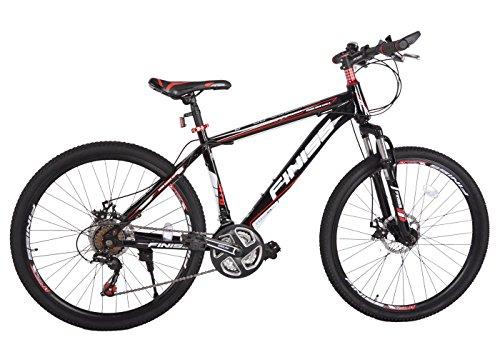 SHINEWOOD 自転車 26インチ マウンテンバイク MTB フロントサスペンション シマノ21段変速(ブラック&レッド)