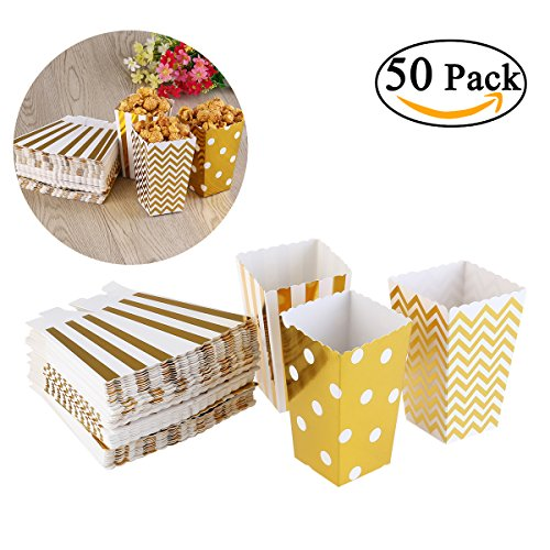 NUOLUX Popcorn Boxes Cardboard Candy Container 50pcs Gold Color (Popcorn Cardboard compare prices)
