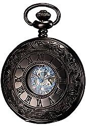 Ks Antique Black Hollow Case Retro Roman Numerals Dial Mechanical Pocket Watch