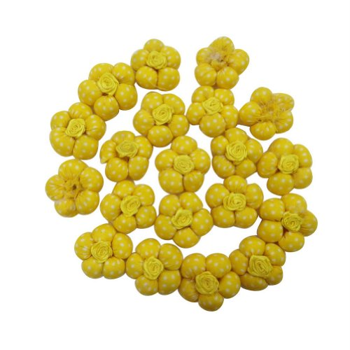 Yellow Sewing Buttons Floral Design Children Dress Stitching Buttons India 4 Pcs front-947784