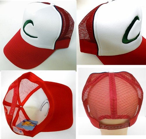 Pokemon Trainer Ash Ketchum Costume Adjustable Adult Mesh Cap with Blue Stripe