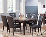7pc Dining Table & Parson Chairs Set in Espresso Finish