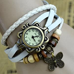 Elite Charm Butterfly Pendant Quartz Fashion Weave Wrap Leather Bracelet Womens Wrist Watches (White)