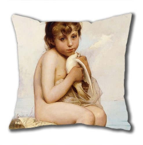 1ZMountletstore Painting Nude Child With Dove Square decorative Throw Pillow Case Decor Cushion Bed Sofa and car 18 X 18 square