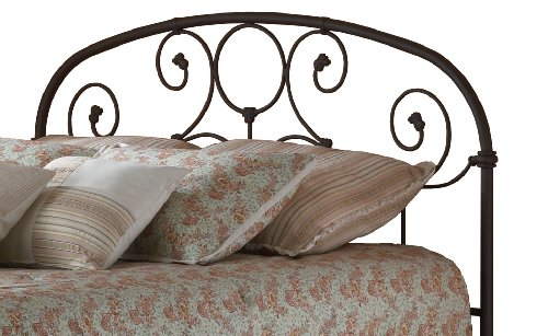 Grafton Metal Headboard with Scrollwork Design and Decorative Castings, Rusty Gold Finish, Full (Headboard Full Metal compare prices)