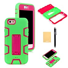 """buy Xiqi(Tm) Armor Defender Case Robot Design With Stand For Iphone 6(4.7""""),With Screen Protector,Free Stylus,Cleaning Cloth Zjjqr Green Pink"""
