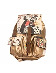 The House Of Tara Golden Faux Leather And Canvas Caricature Backpack (Multicolour)