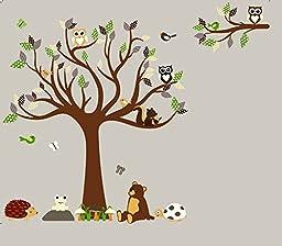 HH Baby Boutique Nursery Owl Wall Decal, Teddy Bear, Turtle, Frog Wall Decals, Nursery Animal Wall Decals, Nursery Tree Wall Decal XL
