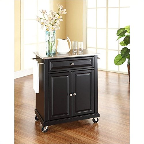Crosley Furniture Stainless Steel Top Portable Kitchen Cart/Island in Black Finish (Portable Kitchen Cart Island compare prices)