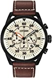 Citizen Avion Men's Quartz Watch with White Dial Analogue Display and Brown Leather Strap CA4215-04W