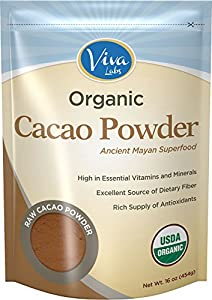 Viva Labs Organic Cacao Powder: Raw and Non-GMO, 1lb Bag