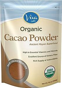 Viva Labs Organic Cacao Powder: Raw and Non-GMO, 1lb Bag