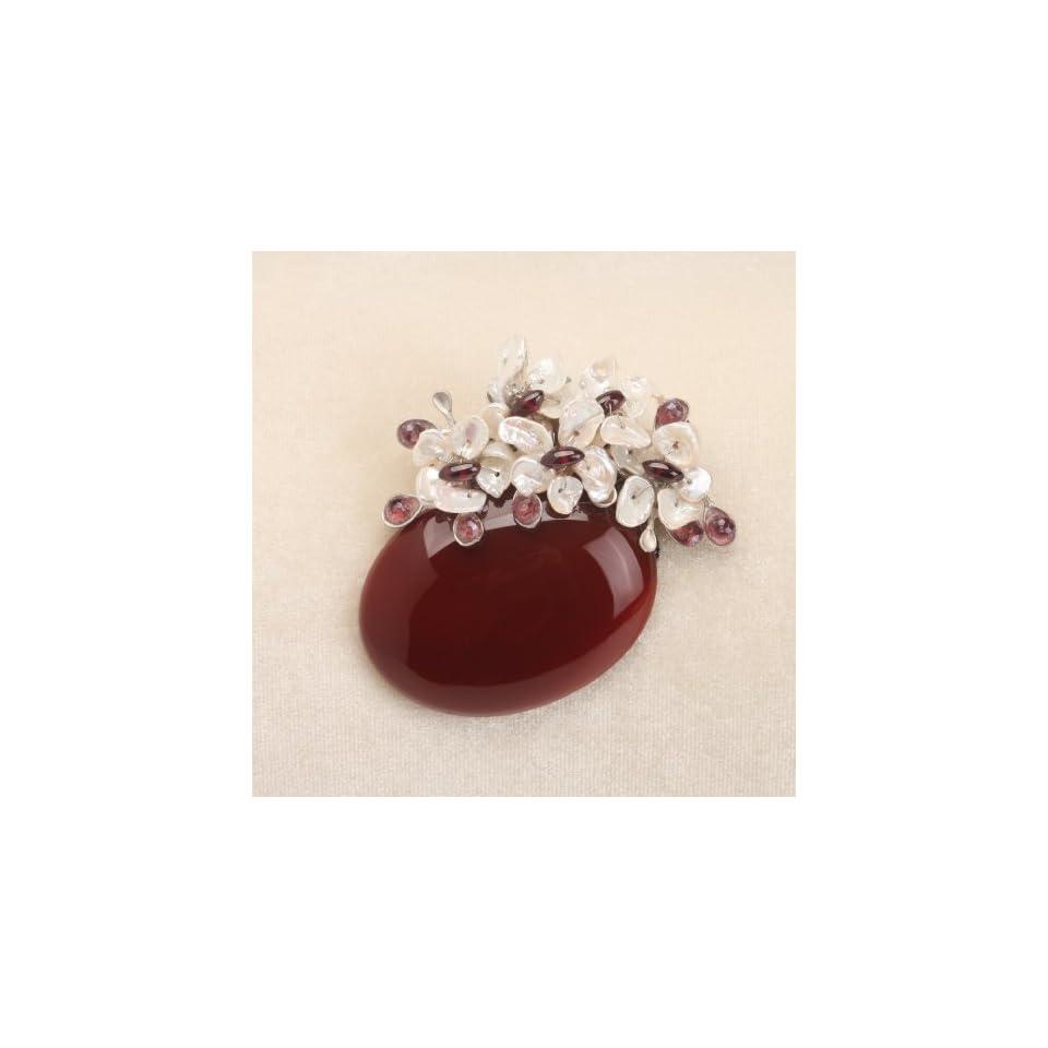 Luxury Sardonyx Based Pearl Flower Brooch