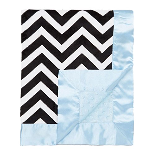 "My Blankee Chevron Minky Black/White w/ Minky Dot Blue Baby Blanket, 30"" x 35"""