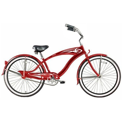 Men's Red Falcon GT Beach Cruiser by Micargi Bicycle