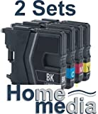 Home Media - 2 Sets of Compatible Cartridge Set for Brother LC1280 Multipack. Consisting of Black,Cyan,Magenta,Yellow Cartridges. To fit Brother Printer ModelsMFC-J430W MFC-J625DW MFC-J825W MFC-J5910DW MFC-J6510DW MFC-J6710DW MFC-J6910DW DCP-J525W DCP-J7