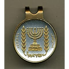 Gorgeous 2-Toned Gold on Silver Israel Menorah -coin - Golf Ball Marker - Hat Clips by J&J Coin Jewelry
