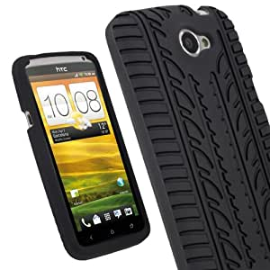igadgitz Noir Pneu Étui Housse Silicone pour HTC One X S720e & HTC One X+ Plus Android Smartphone + Protecteur d'écran