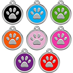Dog Tags Pet Tags Engraved | Designers Round With Paw | 8 COLORS | by CNATTAGS (Green)