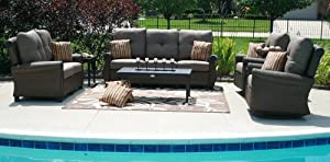 The Giovanna Collection All Weather Wicker/Cast Aluminum Patio Furniture Deep Seating Set With Swivel Rocking Chairs