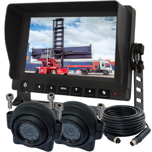 "7"" Tft Screen Monitor Rear View Back Up Camera Single View Video System With Two Cameras For Forklift Excavator Tractor Truck Bus Coach Trailer Rv"