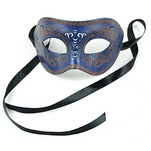 Mask-It Leather Half Mask, 8-Inch, Navy