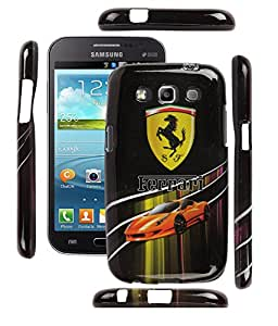 FUSON PREMIUM DESIGNER FERRARI SOFT SILICON BACK COVER FOR SAMSUNG GALAXY GRAND QUATTRO i8552 - ORANGE CAR