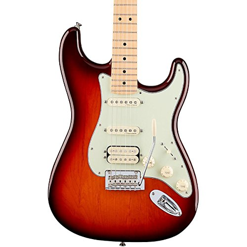 Fender Deluxe Stratocaster Electric Guitar HSS, Maple Fingerboard, Tobacco Sunburst (Fender Tele Noiseless Pickups compare prices)