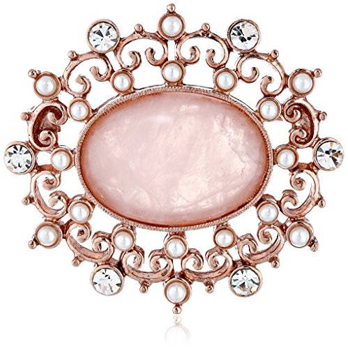 1928 Jewelry Vintage-Inspired Pink Pearl with Crystal Costume Brooch
