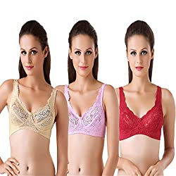 Bodyline Full Coverage Lacy Maroon Skin and Pink Bra