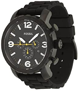 Mens Watch Fossil JR1425 Nate Chronograph Black Stainless Steel Case Black Tone Mens Watch Fossil