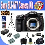 Sony A77 24.3 MP Digital SLR with Translucent Mirror Technology (Body Only) W/32GB SDHC Memory + 2 Extended Life Batteries + Ac/Dc Rapid Charger + USB Card Reader + Memory Card Wallet + Deluxe Case w/Strap + Full Size Tripod + Accessory Saver Bundle! ~ Sony