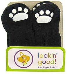 Fashion Pet Lookin Good Solid Slipper Socks for Dogs, Small, Black