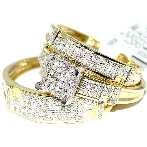Yellow Gold Trio Wedding Set Mens Women Rings Real 0.5ct Diamonds Pave