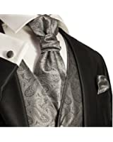 Wedding Vest Set . Silver Gray Paisleys . Tuxedo Vest with Tie and Accessories