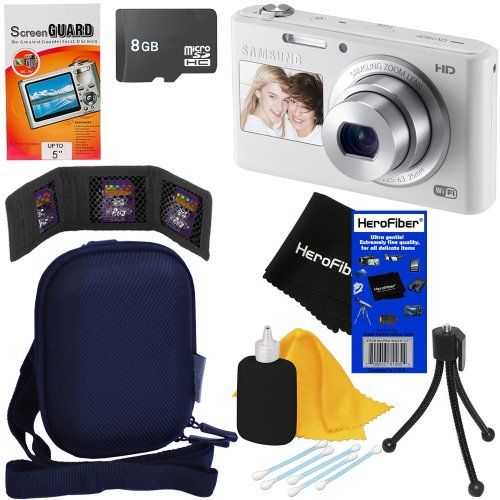 Samsung Dv150F 16.2Mp Smart Wi-Fi Digital Camera With 5X Optical Zoom And Dual-View Lcd Screens (White) + 7Pc Bundle 8Gb Accessory Kit W/ Herofiber® Ultra Gentle Cleaning Cloth front-220614