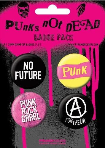 PUNKS NOT DEAD-BP 93-4pezzi Big Buttons Badge Pack MUSICA-dimensioni Ø3,8cm
