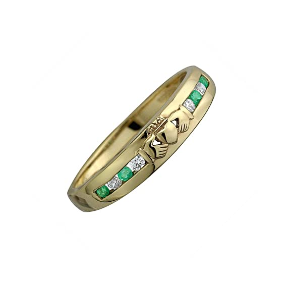 Celtic 14ct Gold Diamond and Emerald stone set Claddagh Eternity Ring