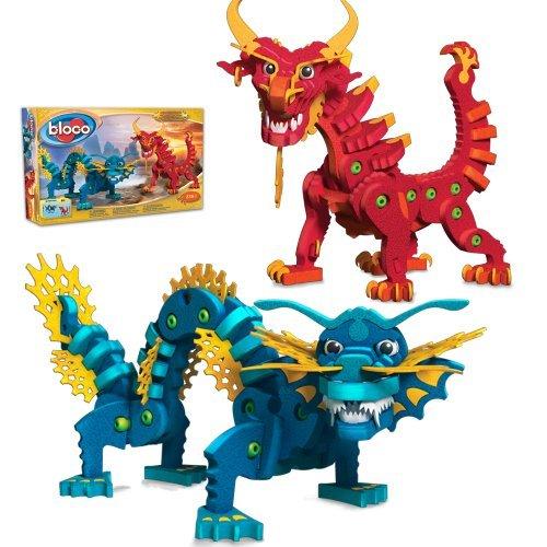 235 High-Density Foam And Plastic Connectors - Bloco Toys Aqua and Pyro Dragons