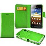 (Green) Samsung I8700 Omnia 7 Super Thin Faux Leather Suction Pad Wallet Case Cover Skin With Credit/Debit Card Slots By Spyrox