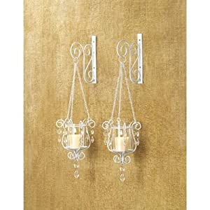 Outdoor Wall Sconce Candle Holder : Amazon.com: 2 White Chic Shabby Hurricane Crystal Hanging Outdoor Candle Holder Wall Sconce ...