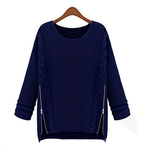 EKIMI Womens Knitted Loose O-Neck Sweater Zipper Knitwear Pullover (Blue)