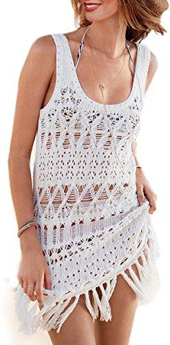 ABILIO - vestito donna abito mare canotta copri costume vestito mare copricostume _bianco_Taglia unica